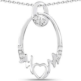 Olivia Leone Sterling Silver 1/6ct TDW Diamond Pendant