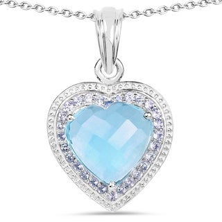 Olivia Leone Sterling Silver 7 3/8ct Blue Topaz and Tanzanite Pendant
