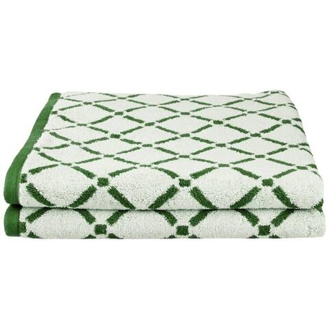 Miranda Haus Reversible Diamond 100% Cotton Bath Sheet (Set of 2) - N/A