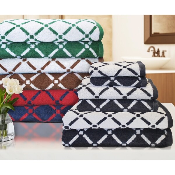 Miranda Haus Reversible Diamond 6-piece Cotton Towel Set - N/A