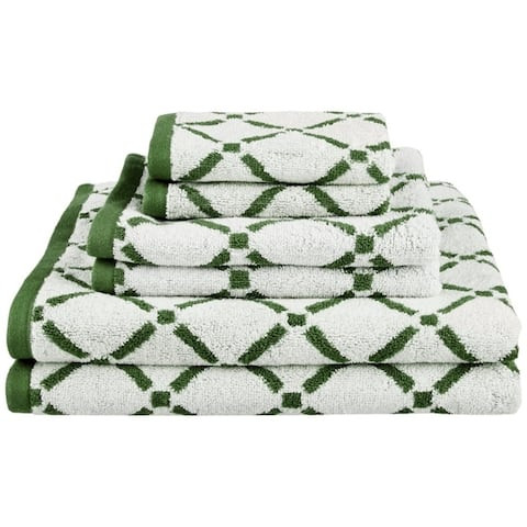 Miranda Haus Reversible Diamond 6-piece Cotton Towel Set - N/A
