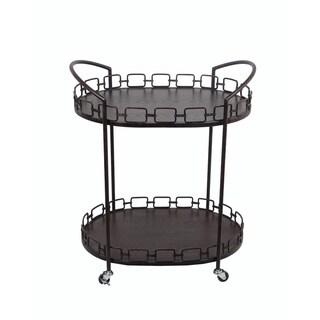 Privilege Rusted Black Oval Bar Cart