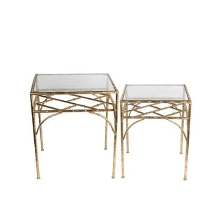 Privilege Gold Iron Accent Table (Set of 2)