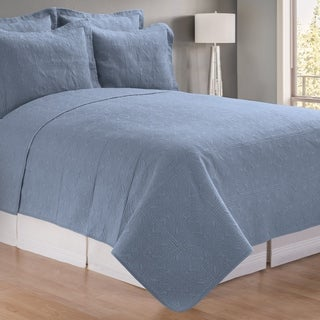 Colonial Blue Matelasse Quilt (Shams Not Included)