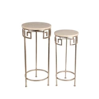 Privilege Gold Round Marble Accent Table (Set of 2)