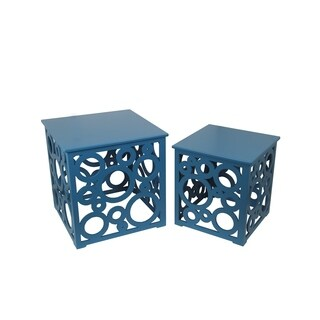 Privilege Blue Cut-out Accent Tables (Set of 2)