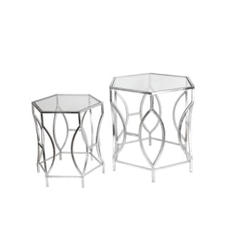 Privilege Silver Iron/ Glass Accent Stands (Set of 2)