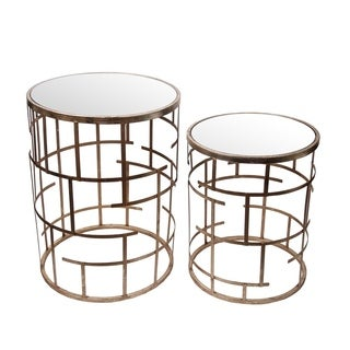 Privilege Set of Two Goldtone Round Accent Tables