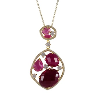 Luxiro Gold Finish Sterling Silver Lab-created Ruby Pendant Necklace