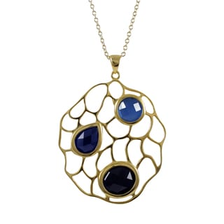 Luxiro Gold Finish Sterling Silver Lab-created Sapphire Pendant Necklace