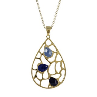 Luxiro Gold Finish Sterling Silver Lab-created Sapphire Teardrop Pendant Necklace