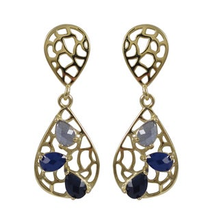 Luxiro Gold Finish Sterling Silver Lab-created Sapphire Teardrop Earrings