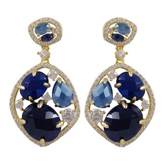 Luxiro Gold Finish Sterling Silver Lab-created Sapphire Dangle Earrings
