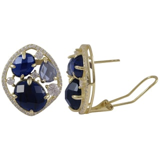Luxiro Gold Finish Sterling Silver Lab-created Sapphire Stud Earrings