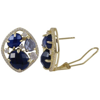 Luxiro Gold Finish Sterling Silver Lab-created Spinel Stud Earrings - Blue