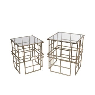 Privilege Gold Iron and Glass Accent Stand (Set of 2)