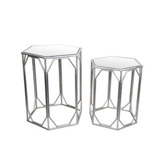Privilege Silver 2 Piece Iron & Glass Accent Stands
