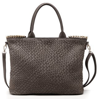 Pink Haley Nicola Faux Leather Basket Woven Tote