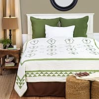 Matinique Cotton Embroidered and Pieced Palm Tree Full/Queen Quilt