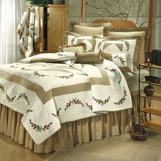 Autumn Embroidered Pinecone and Leaves Twin Size Quilt (Shams Not Included)