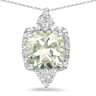 Olivia Leone Sterling Silver 3 4/5ct Green Amethyst and White Topaz Pendant