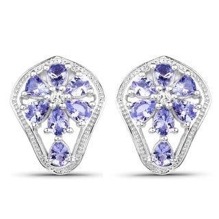 Olivia Leone Sterling Silver 2ct Tanzanite and White Topaz Earrings