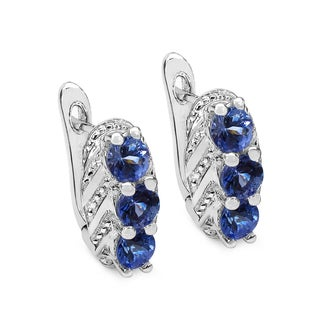 Malaika Sterling Silver 1 2/5ct Tanzanite Earrings