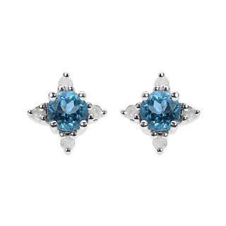 Olivia Leone Sterling Silver 3/4ct Blue Topaz and White Diamond Earrings