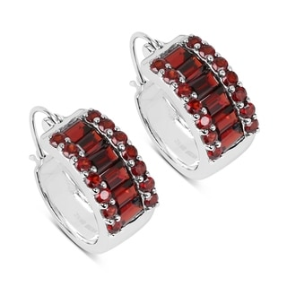 Olivia Leone Sterling Silver 5 7/8ct Garnet Earrings