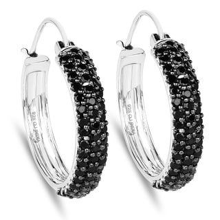 Olivia Leone Sterling Silver 4 1/10ct Black Spinel Earrings