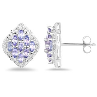 Malaika Sterling Silver 1 1/2ct Tanzanite and White Topaz Earrings