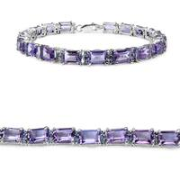 Olivia Leone Sterling Silver 20 1/6ct Amethyst and Tanzanite Bracelet