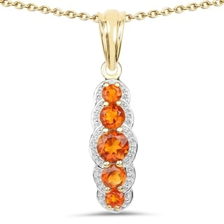 Olivia Leone 14k Yellow Goldplated Sterling Silver 1 1/8ct Citrine Pendant