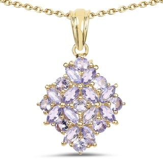 Olivia Leone 14k Yellow Goldplated Sterling Silver 2 1/2ct Tanzanite Pendant