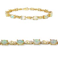 Olivia Leone Yellow Gold-Plated Sterling Silver 3 1/2Ct Ethiopian Opal Bracelet - White