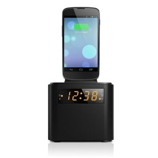 Philips AJ3200 Clock Radio with Interchangeable Smartphone Charger Cradle - iPhone 4 5 5S 6 6 Plus Micro USB for Galaxy S4 S5 S6 https://ak1.ostkcdn.com/images/products/10658350/P17724529.jpg?_ostk_perf_=percv&impolicy=medium