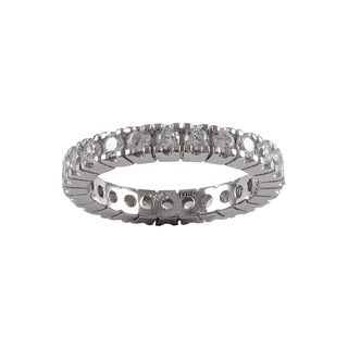 Luxiro Sterling Silver Cubic Zirconia Eternity Ring