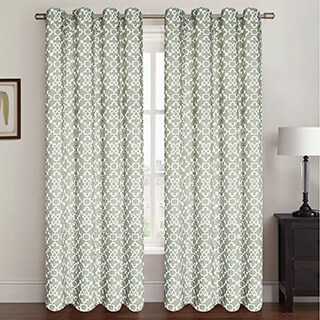 Regal Lattice Pattern Oxford Curtain Panel Pair - 38 x 84