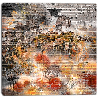 Design Art 'Orange Combat' Street Art Canvas Artwork