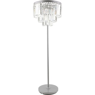 Contemporary Crewe Floor Lamp with Brushed Silver Finish Iron Base