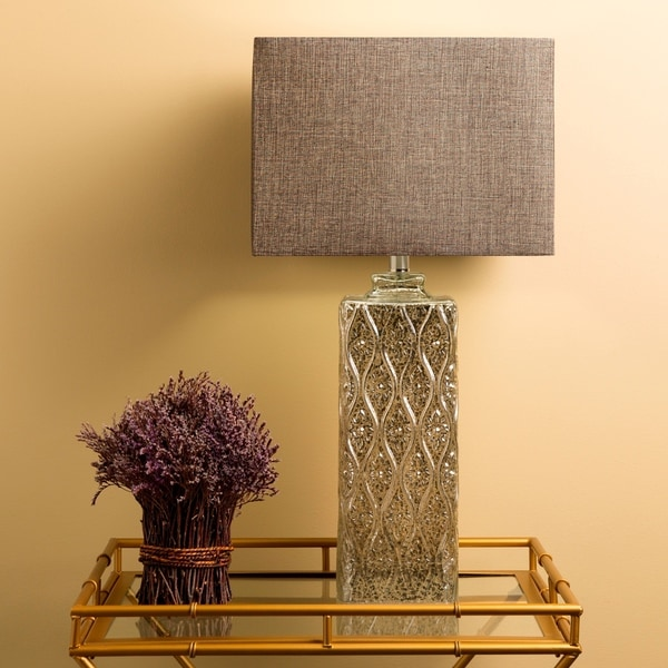 Contemporary Lizze Table Lamp with Metallic Glass Base