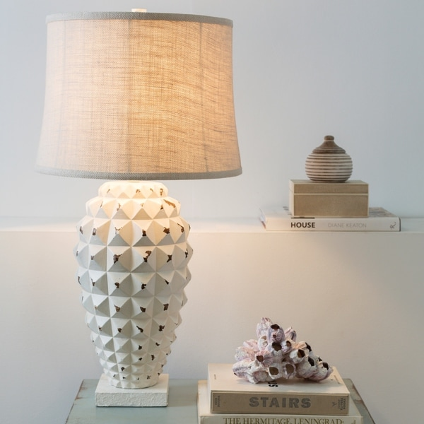 Contemporary Lexie Table Lamp with White Washed Resin Base