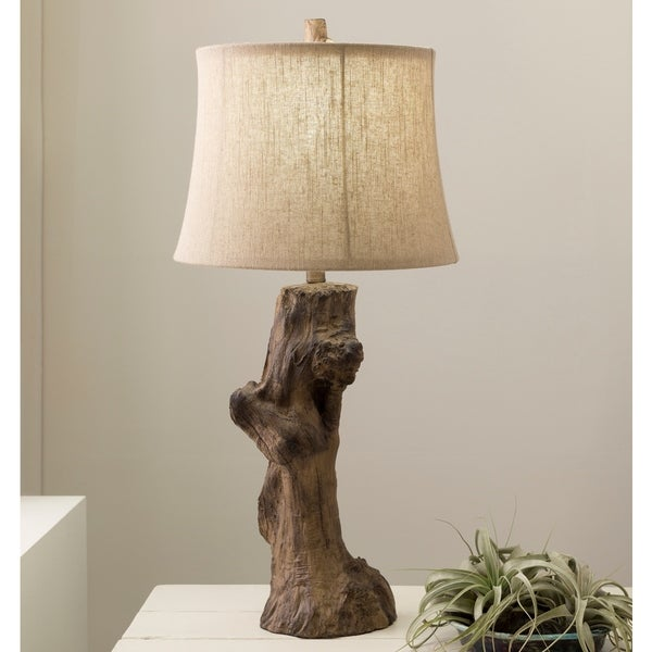 Contemporary Leon Table Lamp with Natural Finish Resin Base