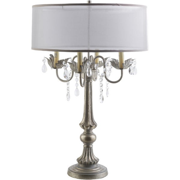Transitional Grays Table Lamp with Antique Polyresin Base