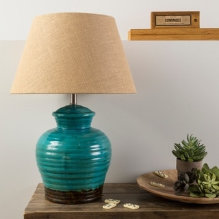 Rustic Gape Table Lamp with Glazed Ceramic Base