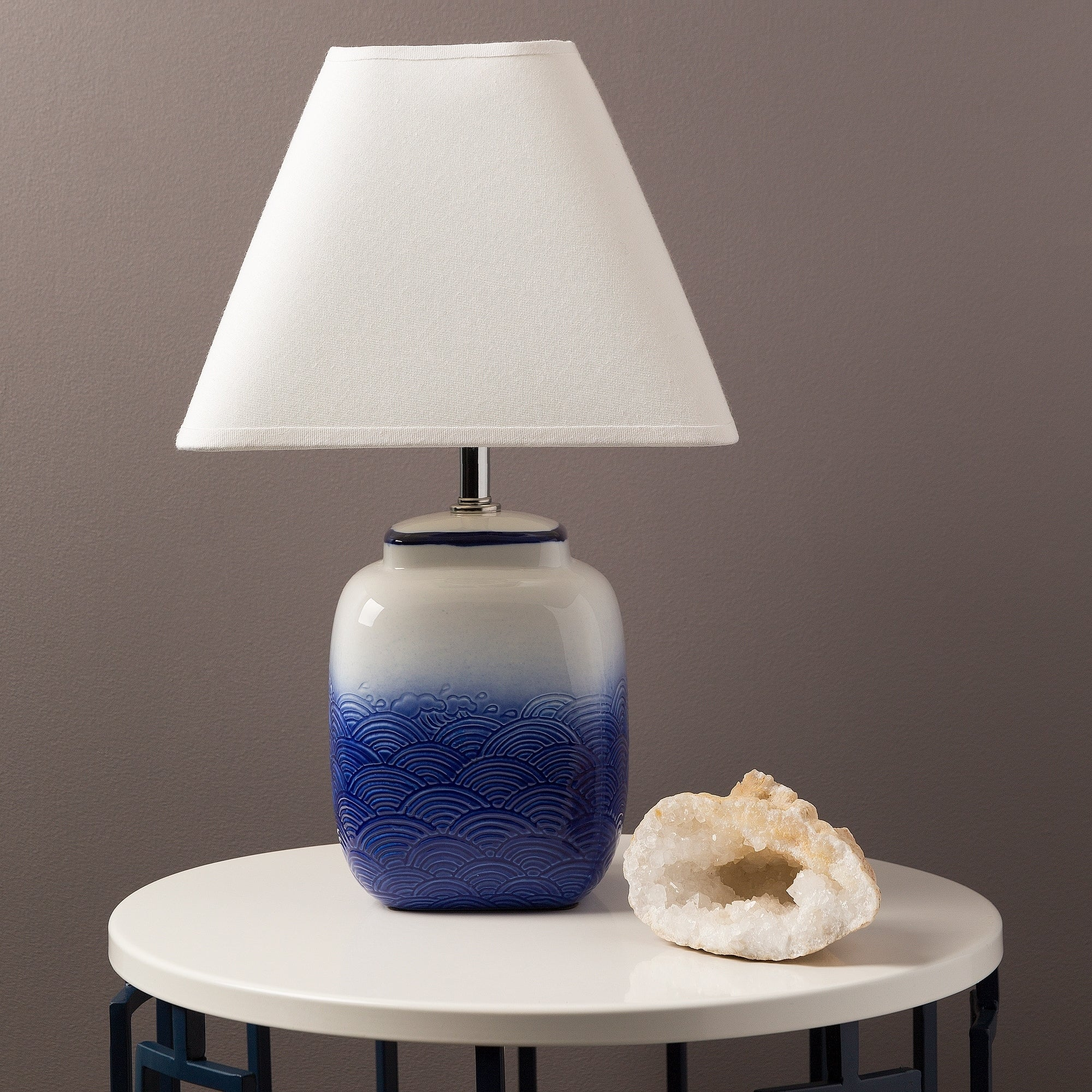 Modern Frome Table Lamp with Glazed Ceramic Base (Blue-TB...