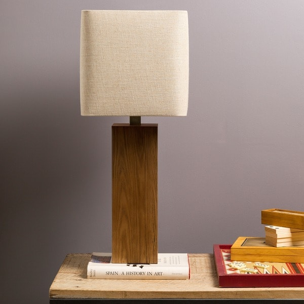 Contemporary Essex Table Lamp with Natural Finish Wood Base