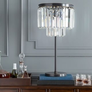 Contemporary Crewe Table Lamp with Brushed Silver Finish Iron Base