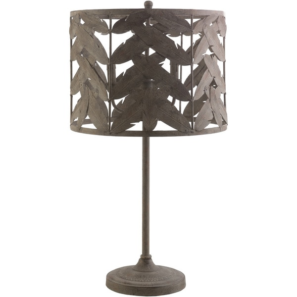 Contemporary Cowes Table Lamp with Natural Finish Iron Base