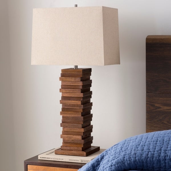 Contemporary Axel Table Lamp with Stained Wood Base